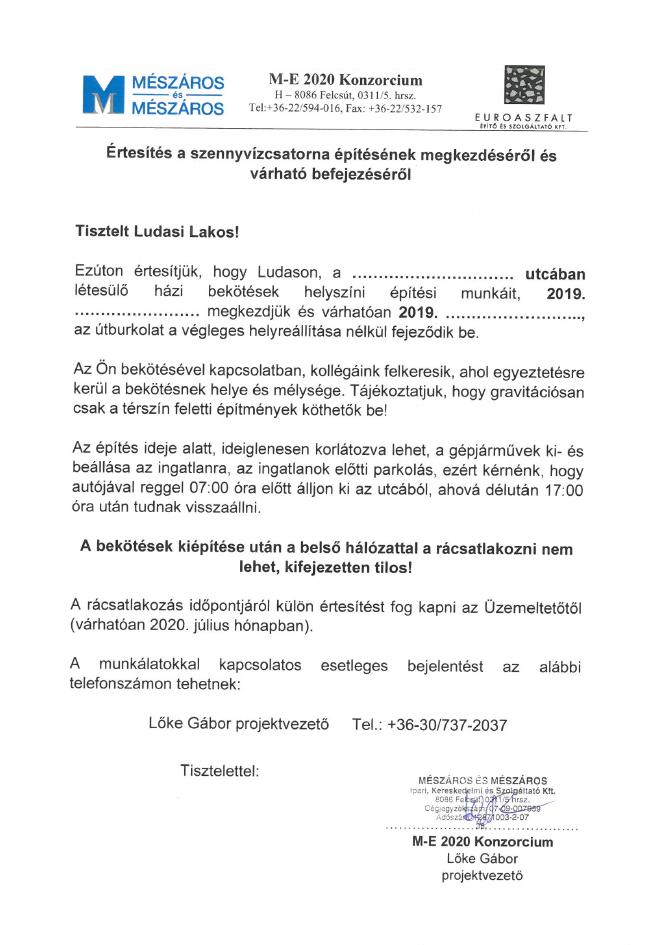 Sablon_dokumentum: Értesítés_szennyvízcsatorna_építésének_megkezdéséről_és_várható_befejezéséről