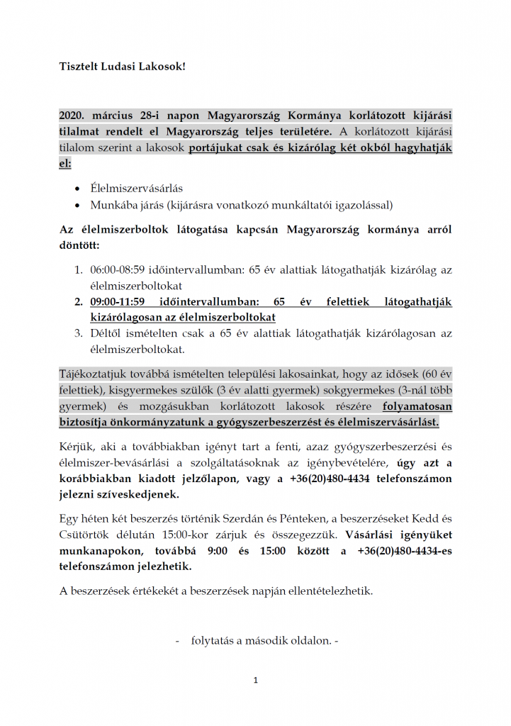 Tájékoztatás kormányzati és önkormányzati intézkedésekről