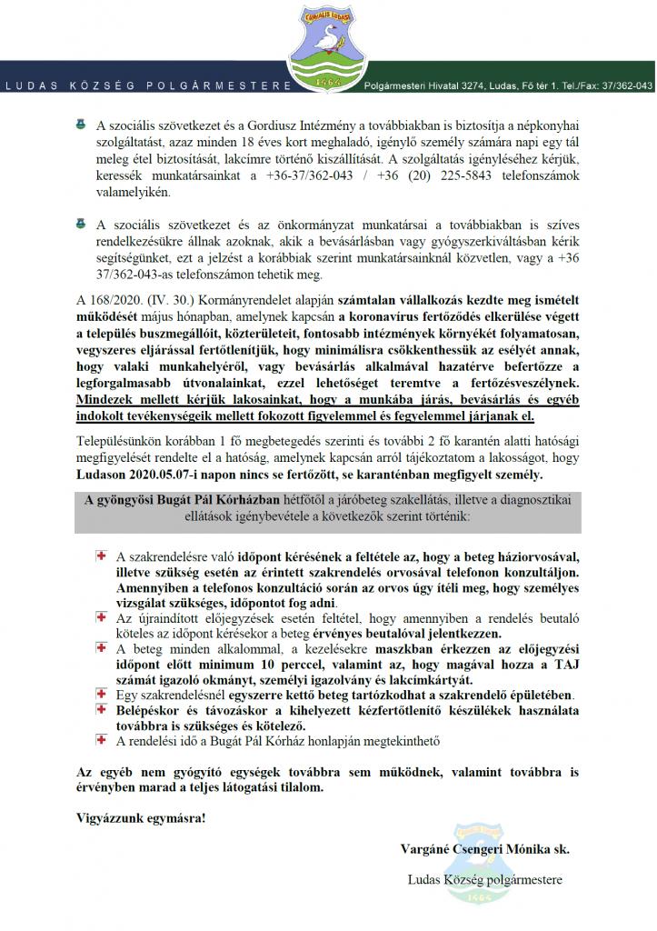 Polgármesteri tájékoztató (2020.05.07)