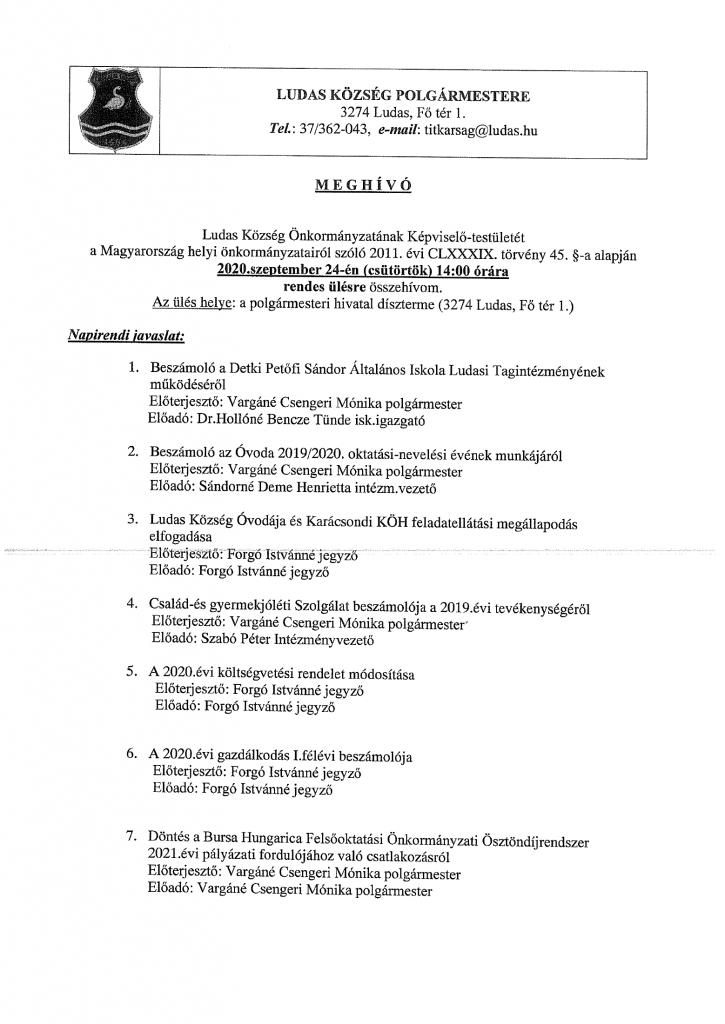 Meghívó_Képviselő-testület rendes ülésére